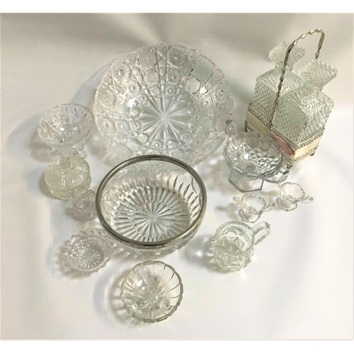 29 - MIXED LOT OF GLASSWARE including a pair of square decanters in a silver plated carrier, silver plate...