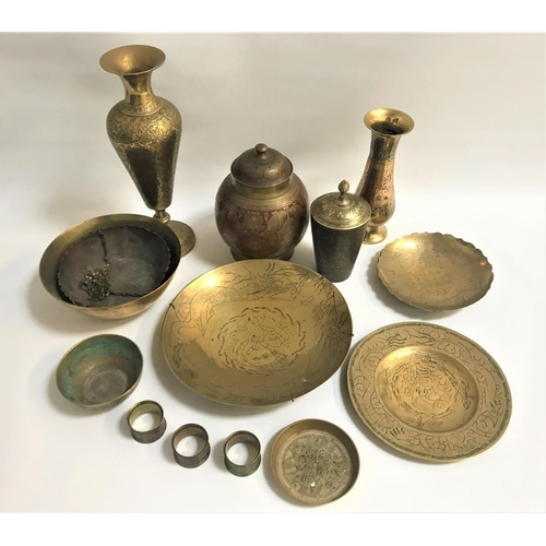 33 - SELECTION OF INDIAN AND EAST ASIAN BRASS WARE all with elaborate scroll and floral decoration includ...