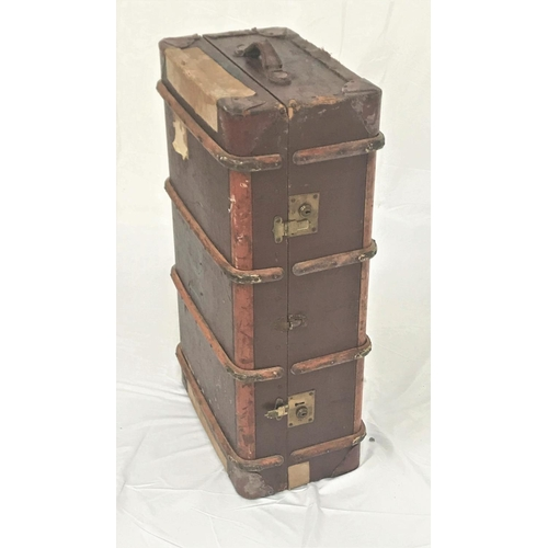 36 - VINTAGE WOOD AND METAL BANDED TRAVEL TRUNK with leather side carrying handles, 93cm wide...