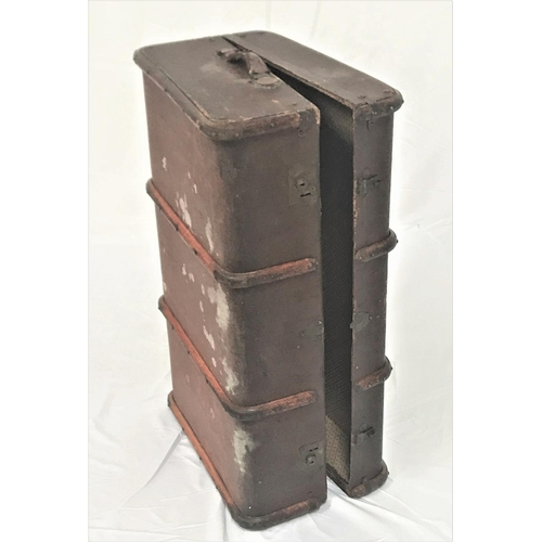 37 - VINTAGE WOOD AND METAL BANDED TRAVEL TRUNK with leather side carrying handles, 93cm wide...