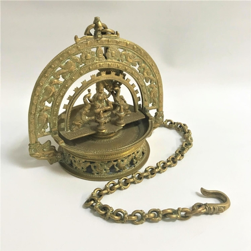 39 - ORNATE BRASS HINDU LAKSHMI HANGING LAMP the central figure of Lakshmi, goddess of prosperity, flanke...