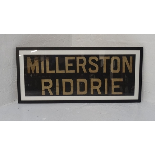 41 - ORIGINAL GLASGOW CORPORATION LINEN TRAM DESTINATION BLINDS - MILLERSTON & RIDDRIE circa 1940s from t...