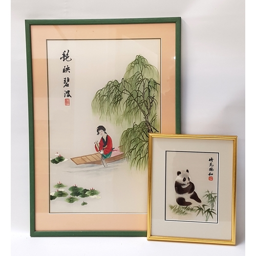 43 - CHINESE SILK EMBROIDERED PICTURE depicting a lady in traditional dress rowing by a willow tree, 50cm...