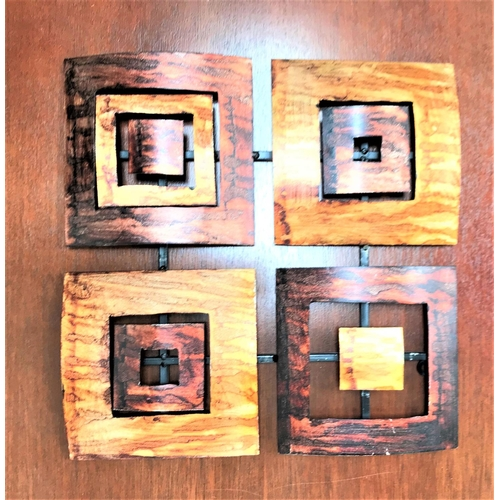 44 - QUAD SECTION ABSTRACT METAL SCULPTURE with four metal squares within squares, 38cm x 38cm...