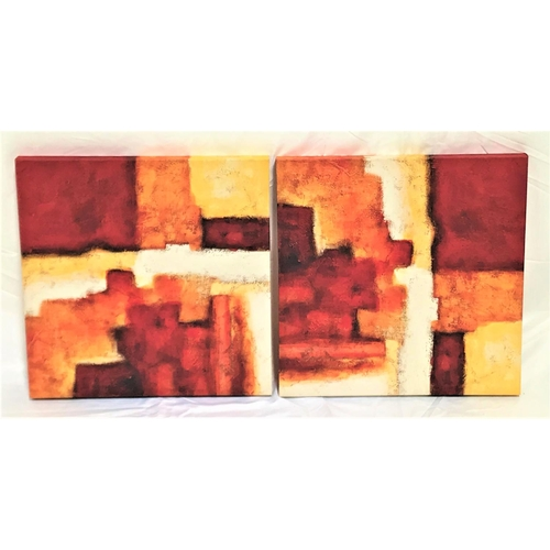 45 - TWO ABSTRACT PRINTS each decorated with with irregular shaped colourful panels, 50cm x 50cm (2)...