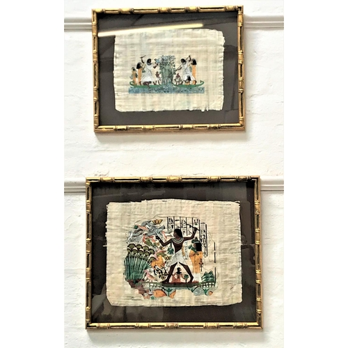 46 - TWO EGYPTIAN GOUACHE PICTURES on papyrus depicting classical figures (2)...