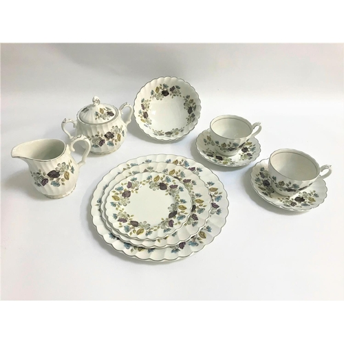 15 - MYOTT IRONSTONE DINNER SERVICE comprising dinner and side plates, soup bowls, tea cups and saucers, ...