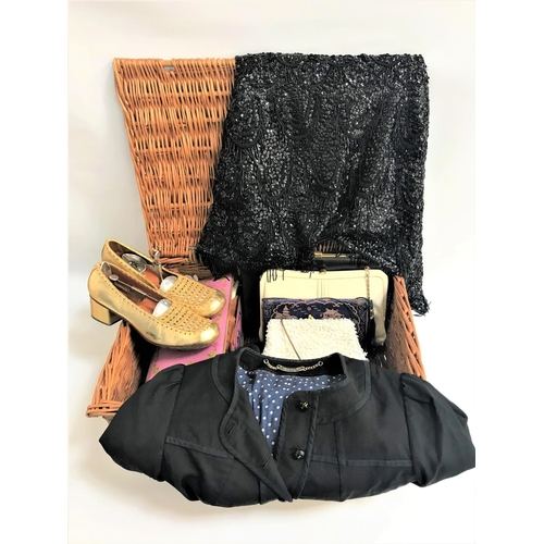 38 - SELECTION OF VINTAGE CLOTHING AND ACCESSORIES including a pair of ladies Riman gold shoes with stret...