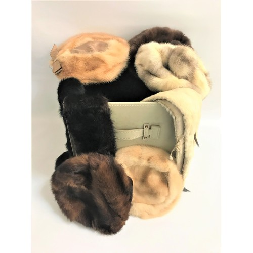 40 - SELECTION OF VINTAGE FUR ACCESSORIES including a large muff; six hats including examples by Jaeger a...