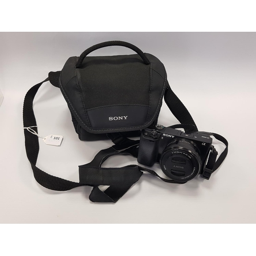 101 - SONY A600 MIRROR LESS CAMERA WITH 16-50mm LENS in Sony carry case....