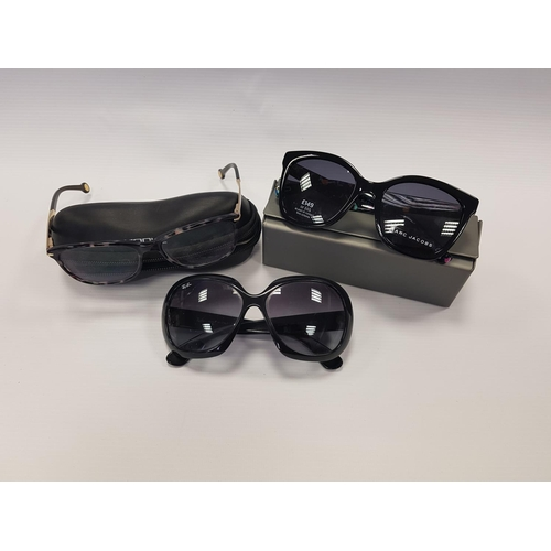 110 - TWO PAIRS OF DESIGNER SUNGLASSES AND ONE PAIR OF DESIGNER SPECTACLES including Marc Jacobs Rx02, Ray...