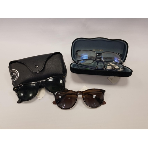 111 - TWO PAIRS OF DESIGNER SUNGLASSES AND TWO PAIRS OF DESIGNER SPECTACLES including Ray Ban Erika Classi...