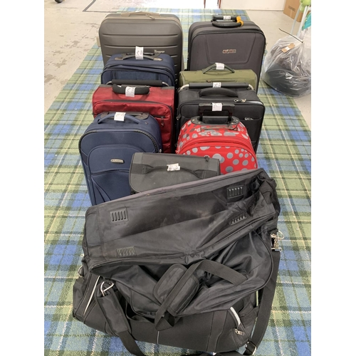 14 - SELECTION OF NINE SUITCASES AND TWO HOLDALLS  various sizes. Including IT Luggage, Azure, etc. Note:...