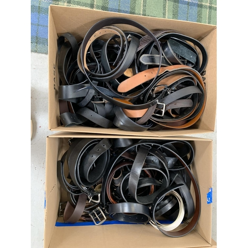 16 - TWO BOXES OF LADIES AND GENTS BELTS...