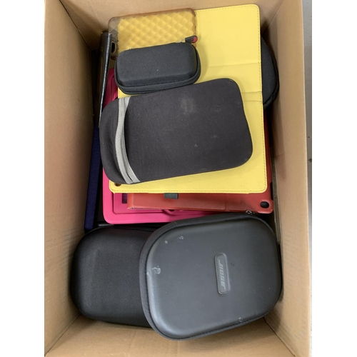 21 - ONE BOX OF PROTECTIVE CASES Including: phone, headphone, tablets, kindle, etc....