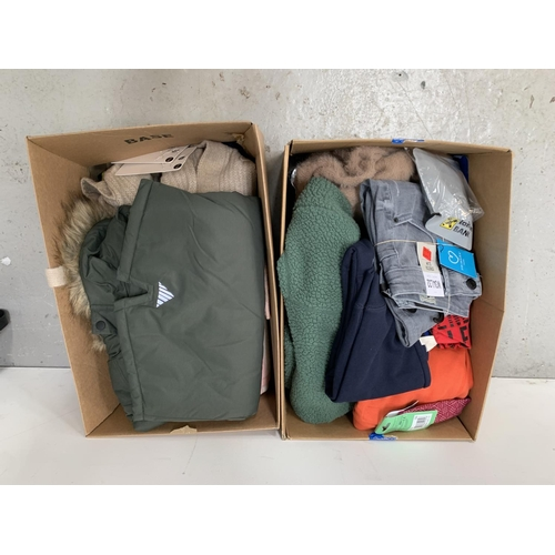 27 - TWO BOXES OF NEW ITEMS including clothing, jewllery, key rings, scarf, hat, etc....