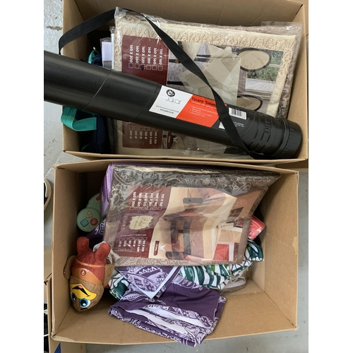 44 - TWO BOXES OF MISCELLANEOUS ITEMS seat and table covers, Kid's electronic book, a hot water bottle a ...