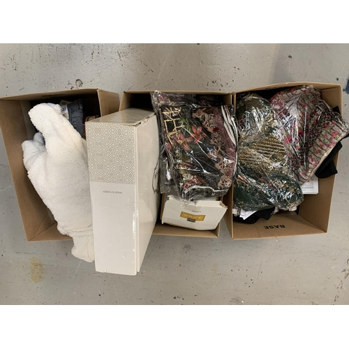 46 - THREE BOXES OF NEW ITEMS including clothing, garden seat cover, an iphone 5s battery, decanter and g...