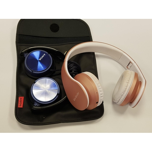 68 - WOR WODER WIRELESS BLUETOOTH OVER EAR HEADPHONES together with Sony MDR-ZX310 wired headphones....