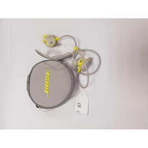 87 - BOSE SOUNDSPORT WIRELESS BLUETOOTH HEADPHONES in case....