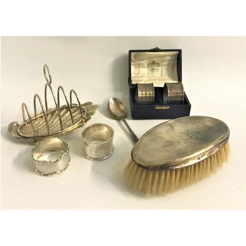 203 - GEORGE V GENTLEMANS HAIR BRUSH monogrammed RRP, Sheffield 1918, Victorian toast rack on a shell shap...