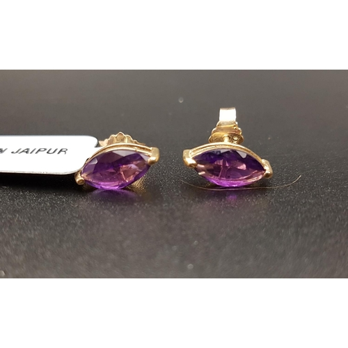 13 - PAIR OF CERTIFIED AMETHYST STUD EARRINGS the marquise amethyst on each in nine carat gold setting, t...