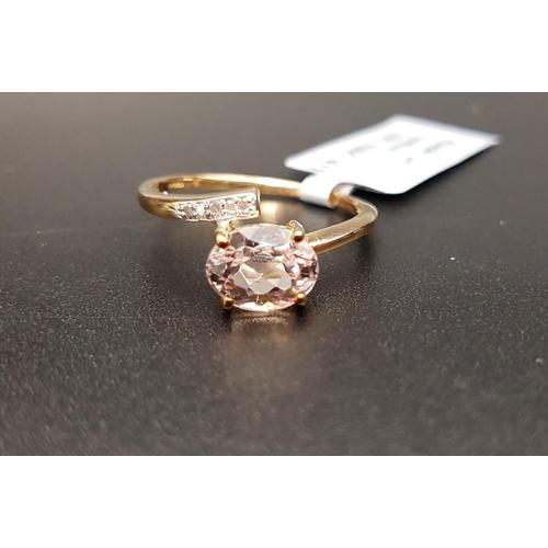 35 - CERTIFIED KUNZITE AND DIAMOND RING the Brazilian oval cut Minas Gerais kunzite weighing 1.61cts, wit...
