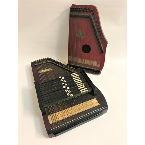 417 - SCALA AUTOHARP  in a stained pine case, 52cm long, together with a similar Autoharp in a stained cas...