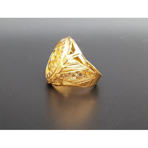1 - TWENTY-TWO CARAT GOLD DRESS RING ring size N and approximately 9.8 grams...
