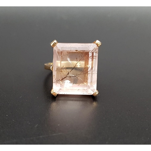 11 - UNUSUAL DENDRITE QUARTZ DRESS RING the large step cut quartz approximately 1.7cm x 1.4cm, on nine ca...