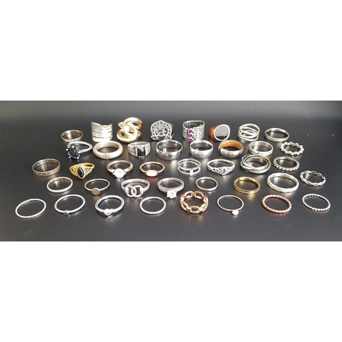 12 - SELECTION OF SILVER AND OTHER RINGS of various sizes and designs, including gem and stone set exampl...