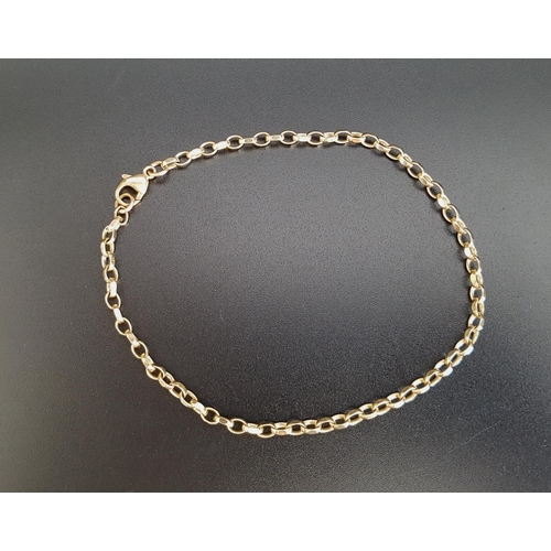 16 - NINE CARAT GOLD BELCHER LINK BRACELET approximately 23.5cm long and 5.2 grams...