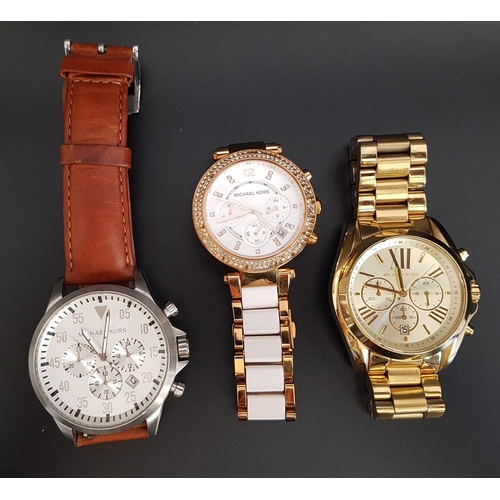 21 - THREE MICHAEL KORS WRISTWATCHES comprising model numbers MK-8545, MK-5774 and MK-5605...