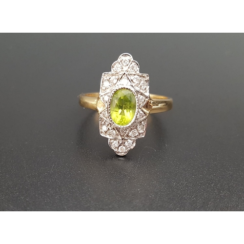 29 - ART DECO STYLE PERIDOT AND DIAMOND PLAQUE RING the central oval cut peridot in multi diamond set sur...