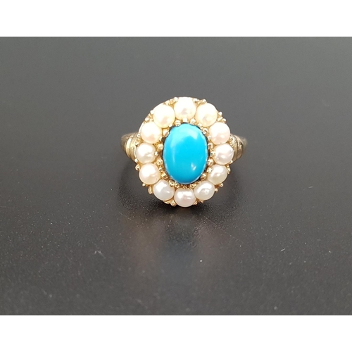 31 - TURQUOISE AND PEARL CLUSTER RING the central oval cabochon turquoise in twelve pearl surround, on ni...
