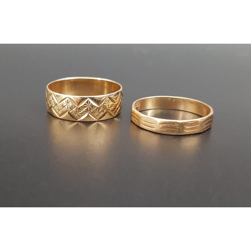 44 - TWO NINE CARAT GOLD RINGS both with engraved decoration and both ring size P, total weight approxima...