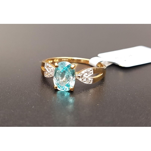 45 - CERTIFIED BLUE AND WHITE ZIRCON RING the central Ratanakiri blue zircon weighing 1.97cts flanked by ...