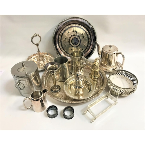 201 - LARGE SELECTION OF SILVER PLATE including trays, bottle holder, napkin rings, spill vase, tea set, c...