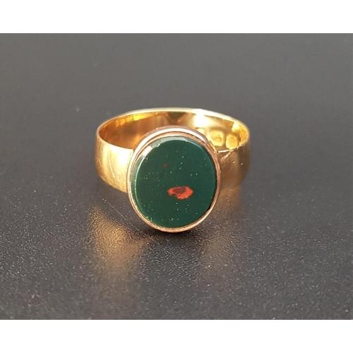 10 - BLOODSTONE SIGNET RING on fifteen carat gold shank, ring size K...
