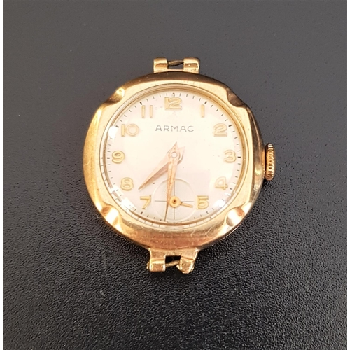 32 - LADIES ARMAC NINE CARAT GOLD CASED WRISTWATCH the champagne dial with Arabic numerals and subsidiary...