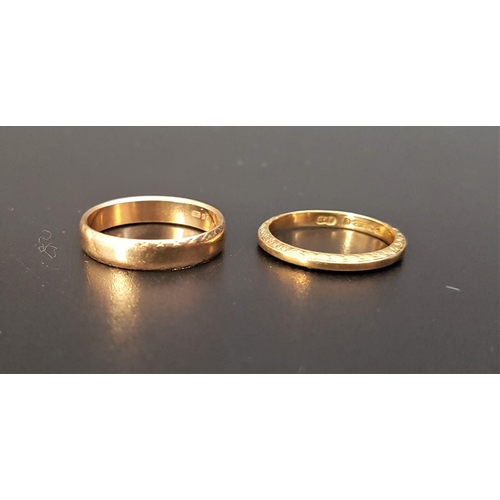 43 - TWO NINE CARAT GOLD WEDDING BANDS one with scroll decoration to the sides, sizes, M-N and I, total w...
