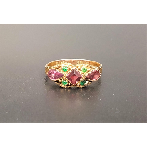 26 - UNUSUAL VICTORIAN PINK AND GREEN GEM SET RING in fifteen carat gold, ring size P...