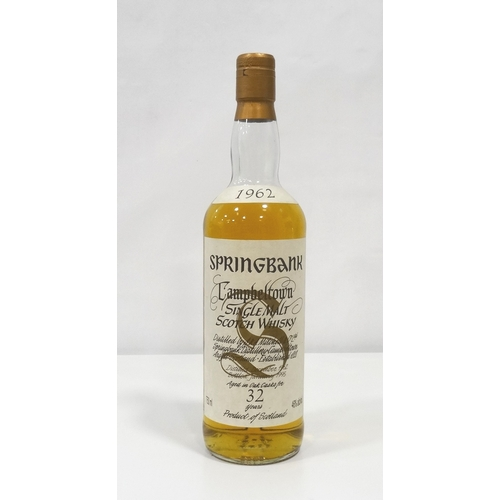 693 - SPRINGBANK 1962 - 32YO A wonderfully rare bottle of the Springbank 1962 Vintage Single Malt Scotch W...