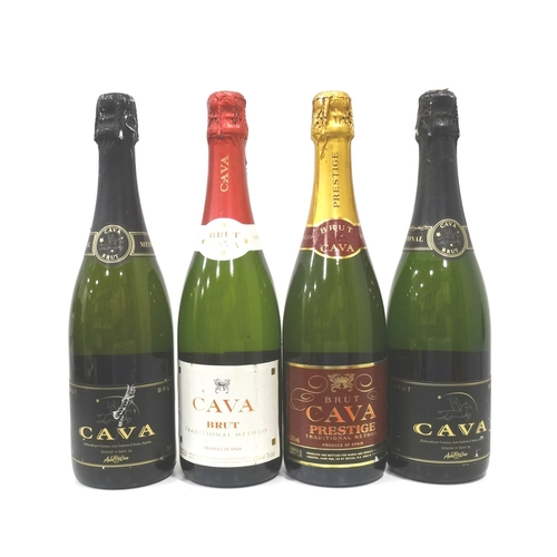 695 - SELECTION OF FOUR BOTTLES OF CAVA comprising: one M&S Cava Prestige Brut (75cl/ 11.5% abv); one M&S ...