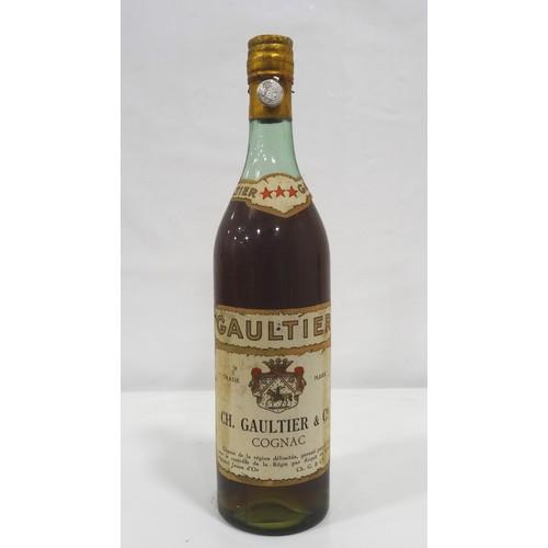 702 - GAULTIER 3 STAR COGNAC A nice old bottle of Gaultier 3 star Cognac distilled by Ch. Gaultier & Cie. ...
