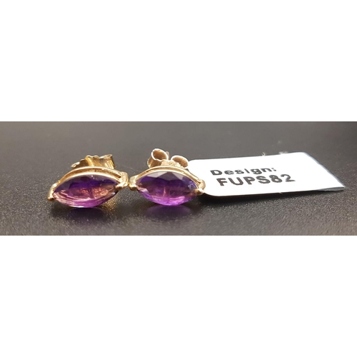 1 - PAIR OF CERTIFIED AMETHYST STUD EARRINGS the marquise cut amethysts totaling approximately 1.7cts, i...