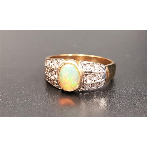 7 - OPAL AND DIAMOND DRESS RING the central oval cabochon opal flanked by three rows of diamond to each ...