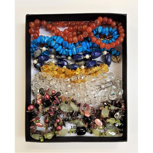 8 - SELECTION OF SEMI PRECIOUS STONE AND CRYSTAL BEAD NECKLACES including carnelian, turquoise, lapis la...