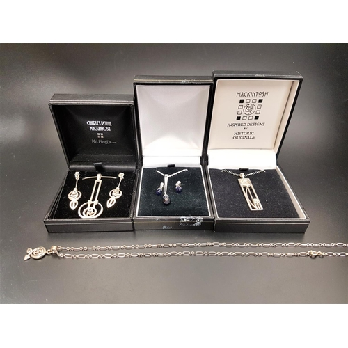 16 - SELECTION OF CHARLES RENNIE MACKINTOSH STYLE SILVER JEWELLERY comprising a suite of pendant on chain...