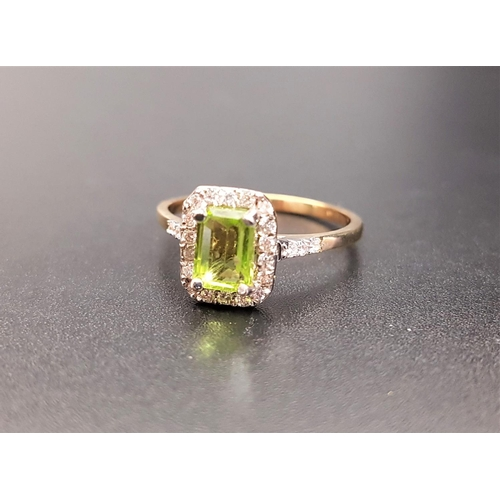 32 - PERIDOT AND DIAMOND CLUSTER RING the central emerald cut peridot approximately 0.8cts, with diamond ...
